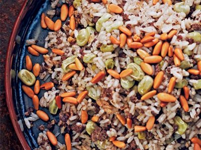 Flavors: Lamb and Egyptian Rice With Cinnamon, Nutmeg and Peas/Green Fava Beans