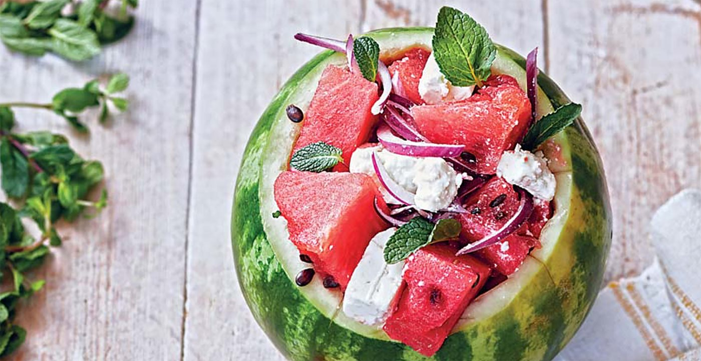Flavors: Watermelon, Feta and Red Onion Salad with Mint